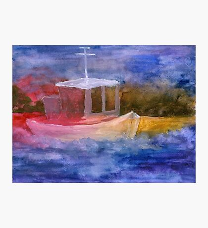 dumb boat in primary colors Photographic Print