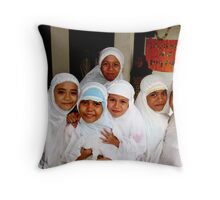 Little Girls of Parayagee Lamboro Girls Orphanage Throw Pillow