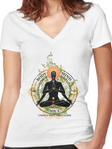 Mind Body and Soul KUNDALINI Women's Fitted V-Neck T-Shirt