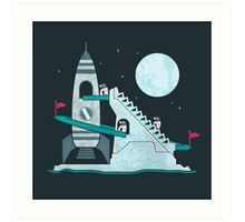 Penguin Space Race Art Print