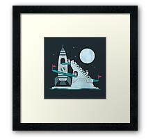 Penguin Space Race Framed Print