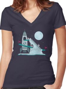 Penguin Space Race Women's Fitted V-Neck T-Shirt