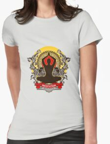 Meditation brings wisdom Womens Fitted T-Shirt