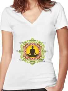 Eight limb path of yoga Women's Fitted V-Neck T-Shirt
