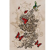 Roses and Butterfly Photographic Print