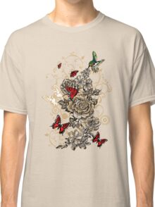 Roses and Butterfly Classic T-Shirt