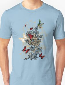 Roses and Butterfly Unisex T-Shirt