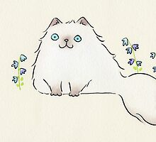 Pale Himalayan Persian Cat with Blue Flowers by zoel
