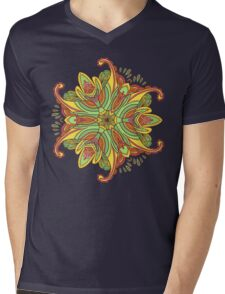 Vector hand drawn doodle mandala. Ethnic mandala with colorful ornament. Isolated. Mens V-Neck T-Shirt
