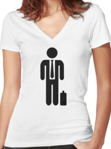 Business man suit Women's Fitted V-Neck T-Shirt