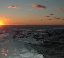 Sunset Southampton Peconic Bay winter by Brennen Cole