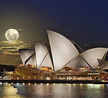 Full moon rising over the sails of the Sydney Opera House by Gary Blackman