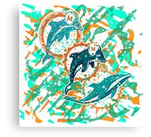 dolphins pop art  Canvas Print