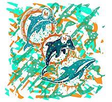 dolphins pop art  Photographic Print