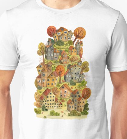 Watercolor cartoon houses and trees on mountain. Little fairy village.  Unisex T-Shirt