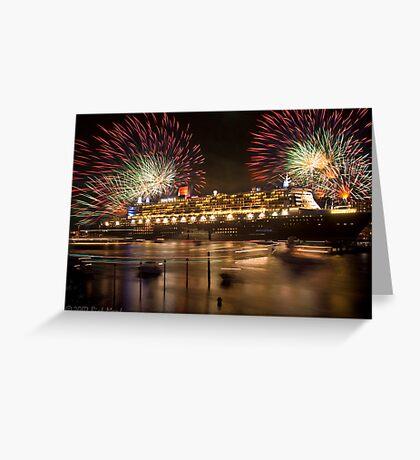 QM2 docked in Sydney Greeting Card