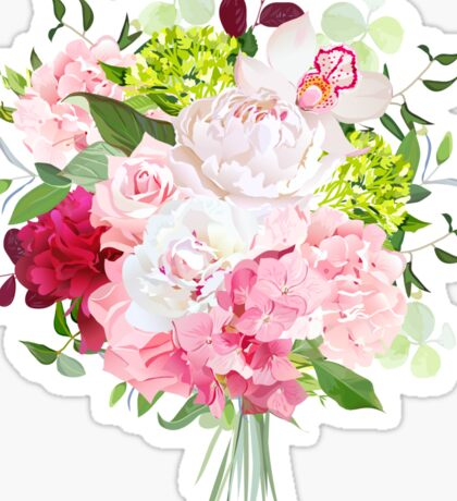 Beautiful vector bouquet with peony, rose, carnation, hydrangea, orchid, green plants on white vector design set. Bunch of flowers in modern mixed style. All elements are isolated and editable. Sticker