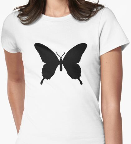 Black butterfly Womens Fitted T-Shirt