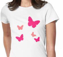 Pink butterflies Womens Fitted T-Shirt