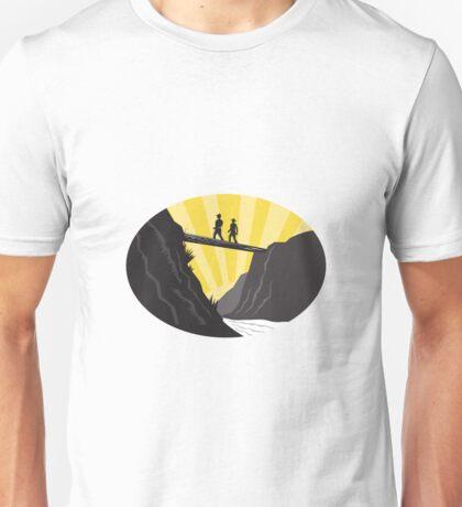 Trampers Log Bridge Ravine River Oval Woodcut Unisex T-Shirt