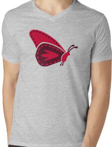 Red butterfly Mens V-Neck T-Shirt