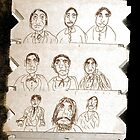 15 men, drawing on cardboard by Stacey Lazarus