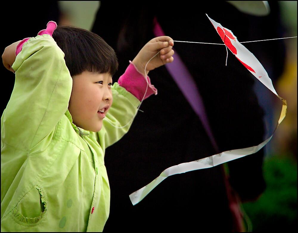 Kite girl 2, Xi'an, China 2006 by John Tozer