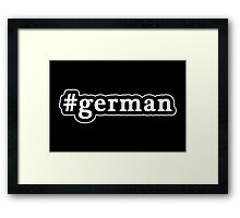 German - Hashtag - Black & White Framed Print