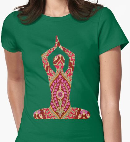 YOGA. BREATHING IN DIRT AND EXHALING FLOWERS Womens Fitted T-Shirt