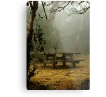 alone on a foggy mountain top Metal Print