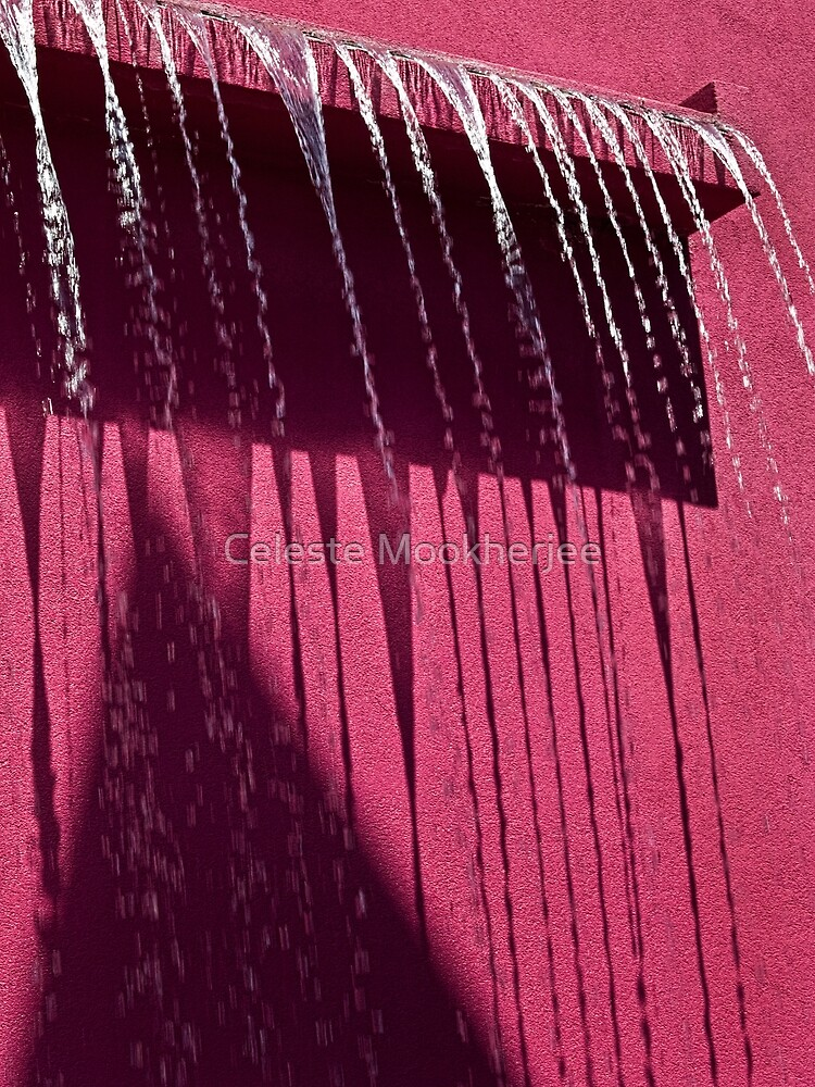 Cool water feature on hot pink by Celeste Mookherjee