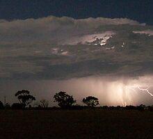 Closeup of lightning across southern Yorke Peninsula, South Australia by Craig Watson