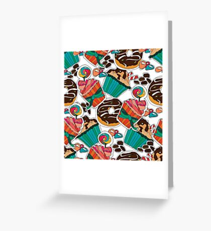 Desserts. Seamles pattern. Lollipops, muffins, candies,  coffee.  Greeting Card
