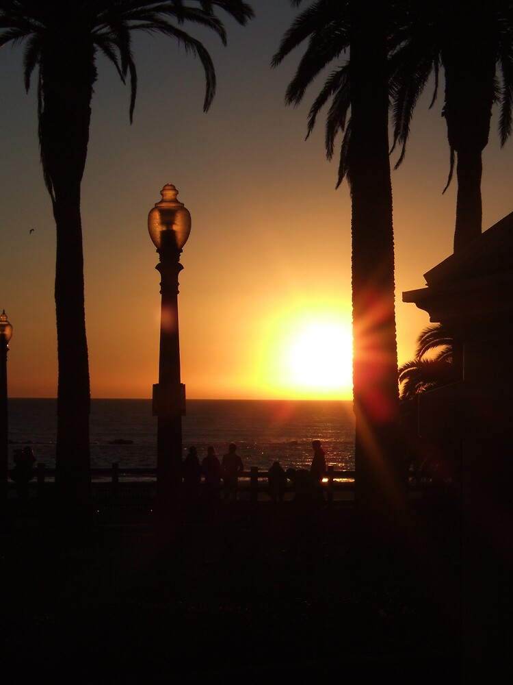 Sunset at Santa Monica Beach by Chaos