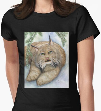 """LINUS""  Canadian Lynx, First Snow Womens Fitted T-Shirt"