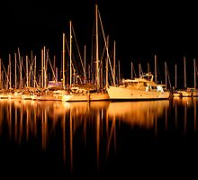 Yachts in Sandy Bay by Mark Snelson