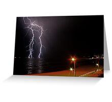 Bar Beach Lightning Greeting Card
