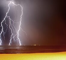 Beach Lightning 2 by Mark Snelson