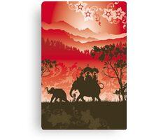 Indian Elephants and monkeys Canvas Print