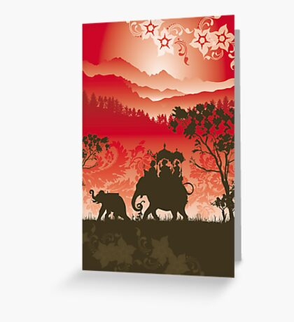 Indian Elephants and monkeys Greeting Card