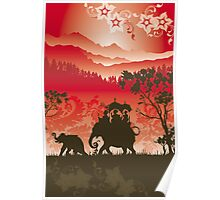 Indian Elephants and monkeys Poster