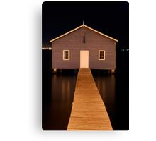 little boatshed on the river Canvas Print