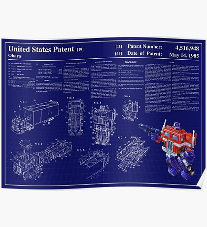 Optimus Prime Patent Art & Text Poster