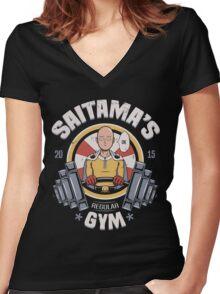 Saitama's Gym Women's Fitted V-Neck T-Shirt