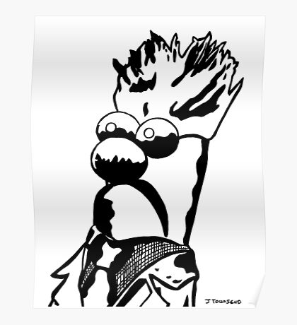 Black and White Beaker Portrait by JTownsend Poster