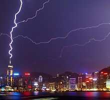Lightning over Victoria Harbour by Alex Lau