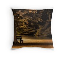 A seat by the water Throw Pillow