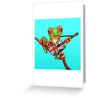 Tree Frog Playing Union Jack Guitar Greeting Card