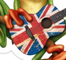 Tree Frog Playing Union Jack Guitar Sticker