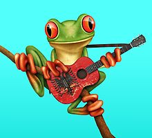Tree Frog Playing Albanian Guitar by Jeff Bartels